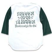 "KUSTOMSTYLE ""BAGGED AND SLAMMED"" WHITE/DARK GREEN 3/4 SLEVE Tシャツ"