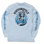 "KUSTOMSTYLE ""SKATE MONKEY"" LONG SLEVE TEE 長袖Tシャツ ホワイト"